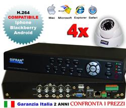 Kit videosorveglianza 4 canali + 4 telecamere CCD + HD 1000 GB