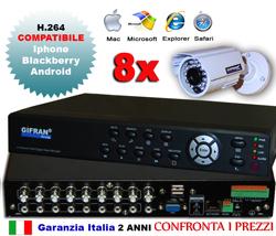 Kit videosorveglianza 8 canali + 8 telecamere CCD + HD 1000 GB