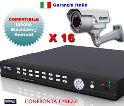 Kit Videosorveglianza 16 canali con DVR realtime H.264 e 16 telecamere CCD