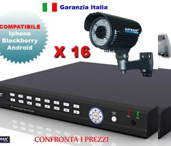 Kit Videosorveglianza completo, DVR + 16 Telecamere CCD + Staffe per il montaggio