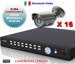 Kit Videosorveglianza Professionale con DVR e 16 telecamere Sharp 3.6mm
