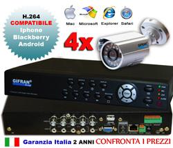 Kit videosorveglianza 4 canali con DVR e 4 telecamere CCD Sony 420 TVL