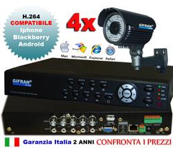 Kit videosorveglianza 4 canali, DVR + HD 1000 GB + 4 telecamere 700 TVL 72 led IR