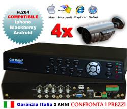 Kit Videosorveglianza per interno ed esterno, DVR 4 canali e 4 telecamre 700 TVL