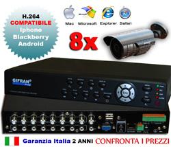Kit videosorveglianza 8 canali con DVR 8 canali + 8 telecamre 700 TVL