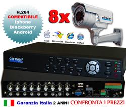 Kit videosorveglianza 8 canali + DVR h.264 + 8 telecamere professionali CCD