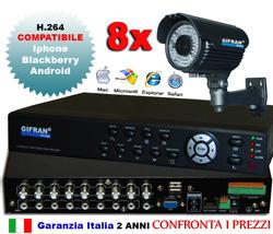 Kit Videosorveglianza con DVR e telecamere Sony 700 TVL 72 led IR