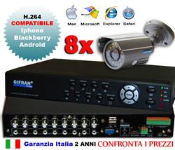 Kit Videosorveglianza 8 canali + DVR 8 canali + 8 telecamere CCD