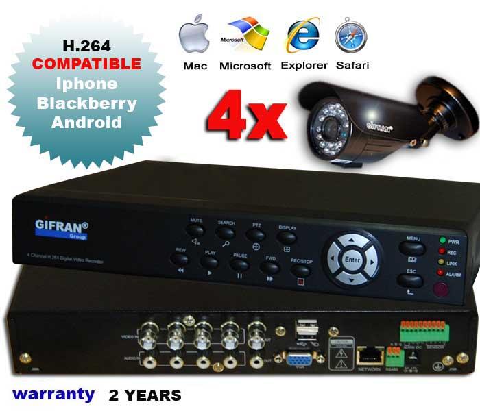 Kit videosorveglianza 4 canali con DVR e 4 telecamere CCD 3.6mm